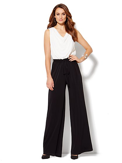 Draped Colorblock Sleeveless Jumpsuit  - New York & Company