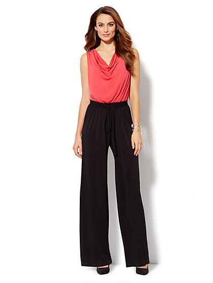 Draped Colorblock Sleeveless Jumpsuit  - New York & Company
