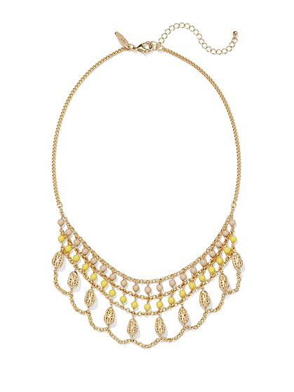 Draped Filigree Bib Necklace  - New York & Company