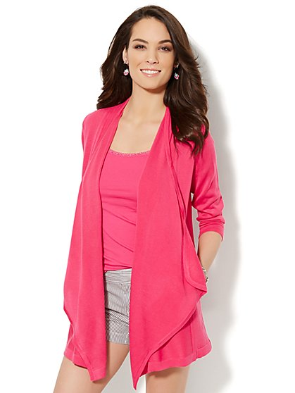 Draped Flyaway Cardigan  - New York & Company