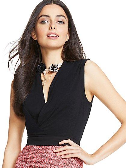 Draped-Front Sleeveless Bodysuit - Black - New York & Company