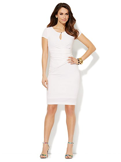 Draped Keyhole Dress - Paper White  - New York & Company