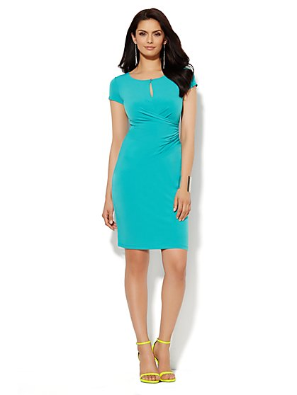 Draped Keyhole Dress - Solid  - New York & Company