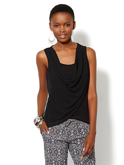Draped Mixed-Fabric Top - Solid - Petite - New York & Company