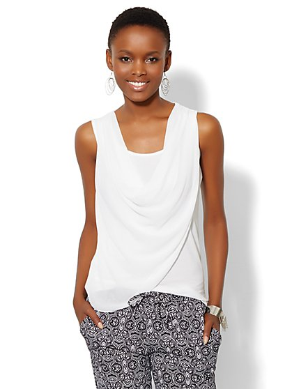 Draped Mixed-Fabric Top - Solid  - New York & Company