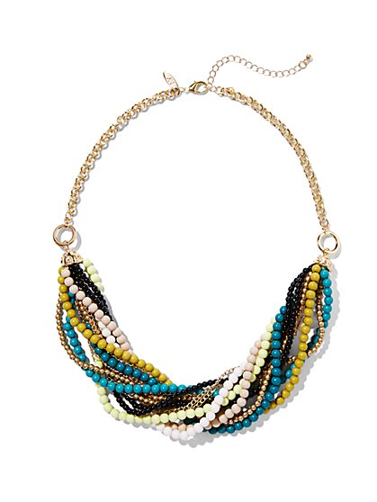 Draped Multi-Chain Bib Necklace  - New York & Company