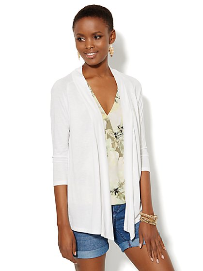 Draped Open-Front Knit Cardigan  - New York & Company