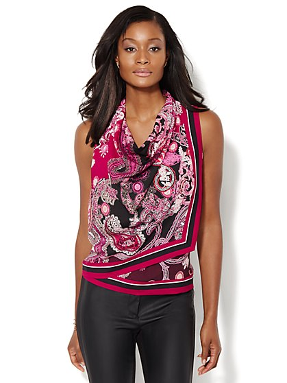 Draped Scarf Blouse - Paisley  - New York & Company