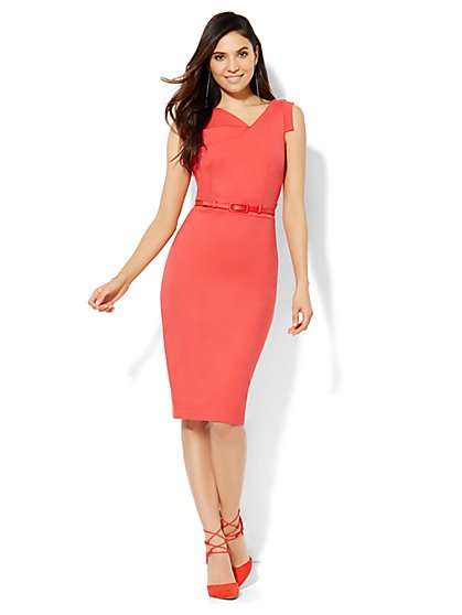 Draped Sheath Dress - Petite  - New York & Company