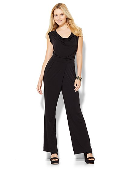 Draped Sleeveless Jumpsuit - Black  - New York & Company