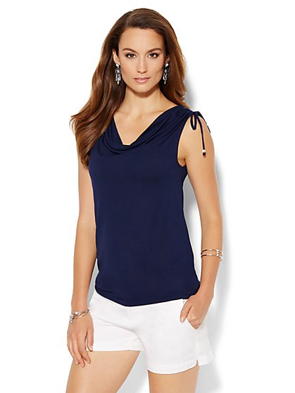 Draped Tie-Shoulder Top  - New York & Company