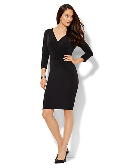 Draped Wrap Dress - Petite - New York & Company