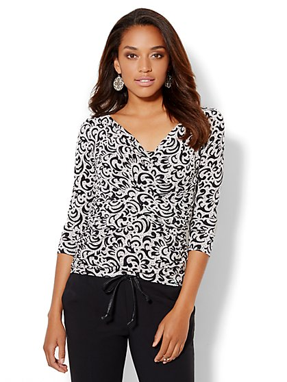 Draped Wrap Shirred Top - Abstract Print - New York & Company