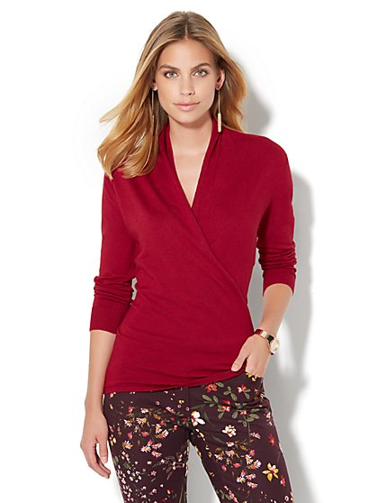 Draped Wrap Sweater  - New York & Company