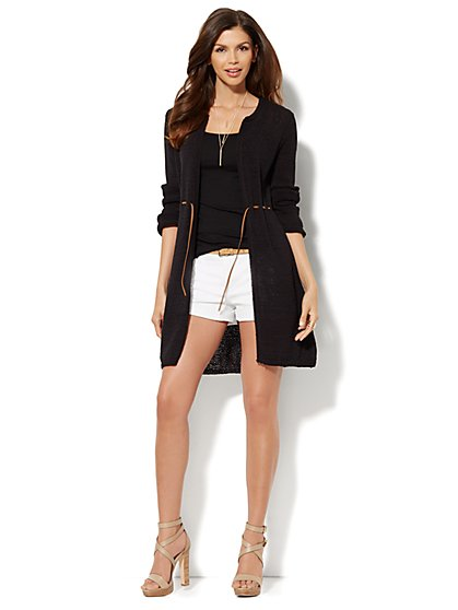 Drawstring Duster Cardigan  - New York & Company