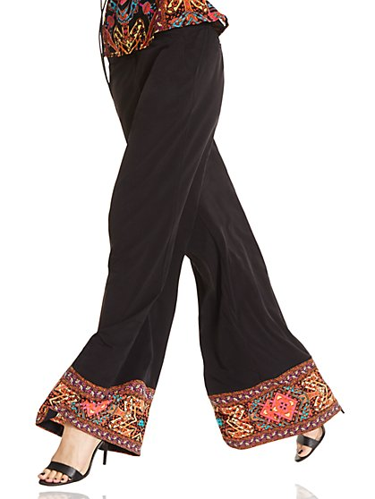 Drawstring Palazzo Pant - Black  - New York & Company