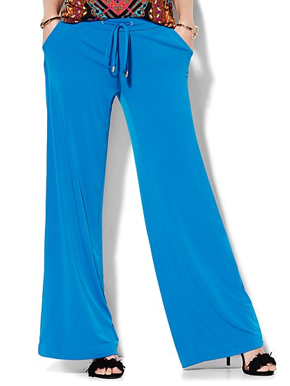 Drawstring Palazzo Pant - Brilliant Teal  - New York & Company