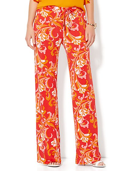 Drawstring Palazzo Pant - Scroll Print  - New York & Company