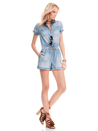 Drawstring Romper - Broken Blue Wash  - New York & Company