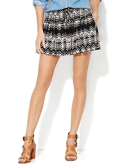 Drawstring Skirt Short - Print - New York & Company