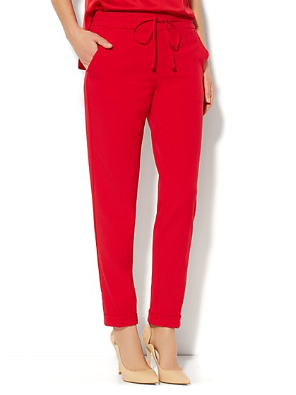 Drawstring Soft Track Pant - Flamenco Red  - New York & Company