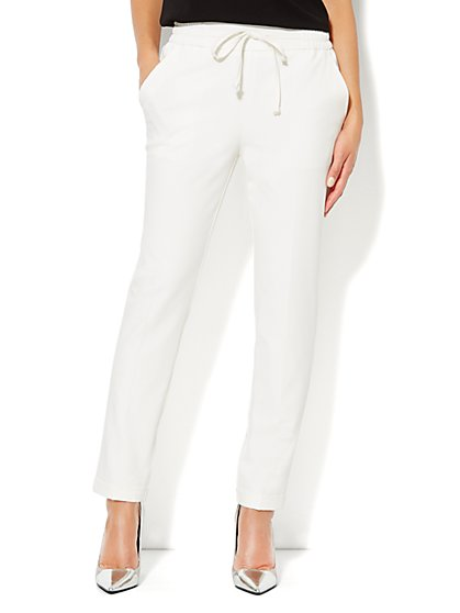 Drawstring Soft Track Pant - Winter White - New York & Company