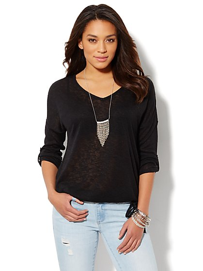 Drop-Shoulder Drawstring Knit Top - New York & Company