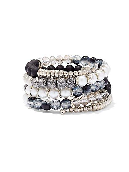 Druzy & Faux Pearl Coil Bracelet  - New York & Company