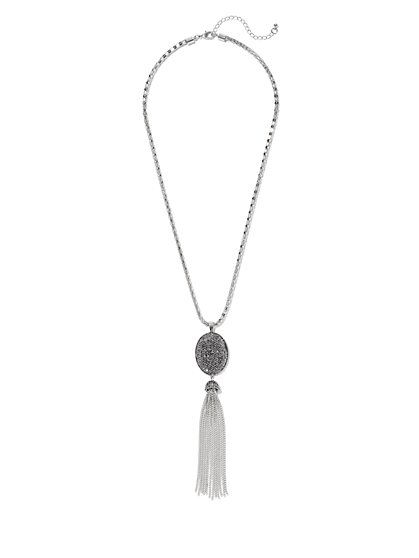 Druzy & Tassel Pendant Necklace  - New York & Company