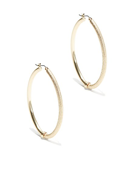 Dual-Surface Hoop Earring   - New York & Company