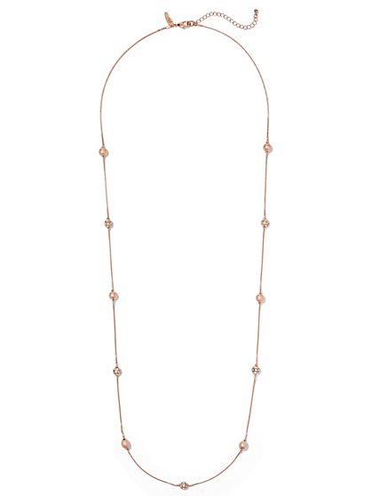 Elongated Beaded Necklace  - New York & Company