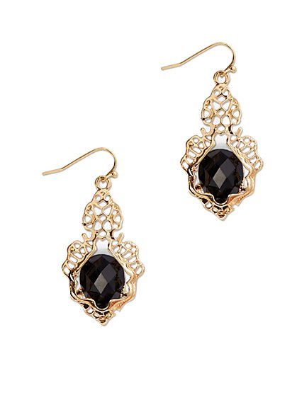 Embellished Faux-Stone Drop Earring - New York & Company