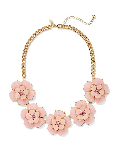 Embellished Floral Bib Necklace  - New York & Company
