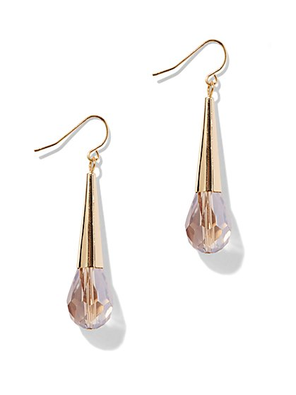 Embellished Goldtone Linear Drop Earring - New York & Company