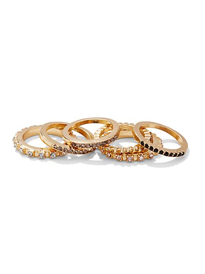 Embellished Goldtone Stacked Rings Set  - New York & Company