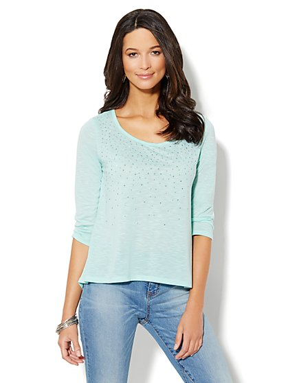 Embellished Hi-Lo Cotton Top  - New York & Company