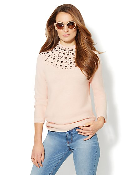 Embellished Mock-Neck Pullover  - New York & Company