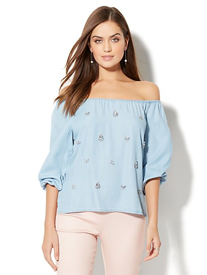 Embellished Off-The-Shoulder Blouse - Ultra-Soft Chambray - Light Indigo - New York & Company