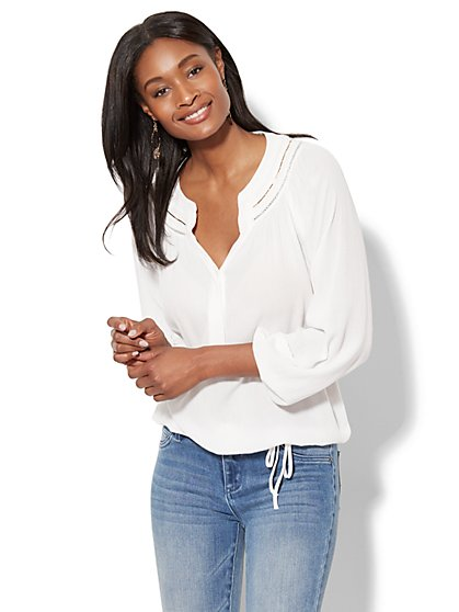 Embellished Peasant Blouse - New York & Company