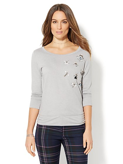 Embellished Scoopneck Sweatshirt - New York & Company