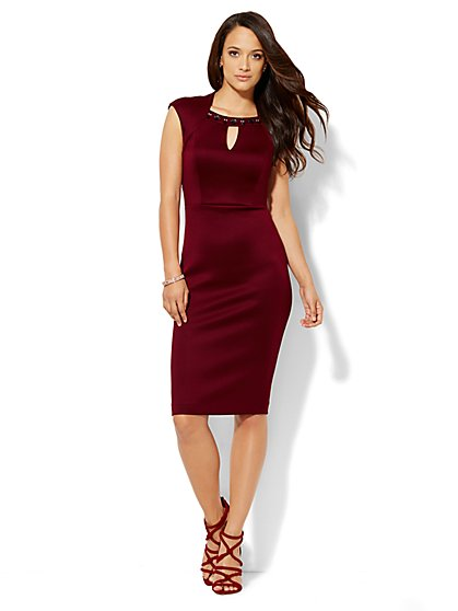 Embellished Scuba Sheath Dress - Petite  - New York & Company