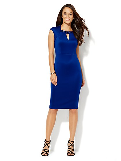 Embellished Scuba Sheath Dress  - New York & Company