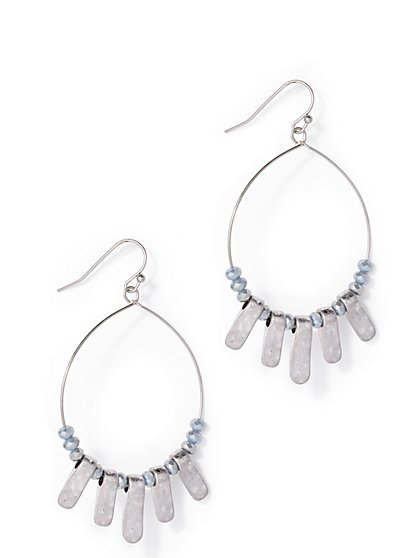 Embellished Silvertone Hoop Drop Earring  - New York & Company