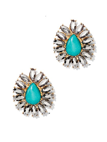 Embellished Teardrop Post Earring  - New York & Company