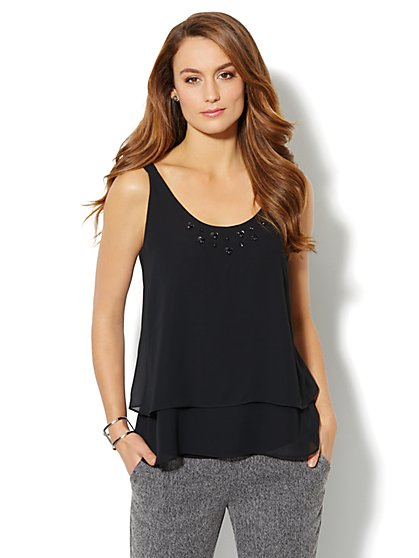 Embellished Tiered Chiffon Camisole - New York & Company