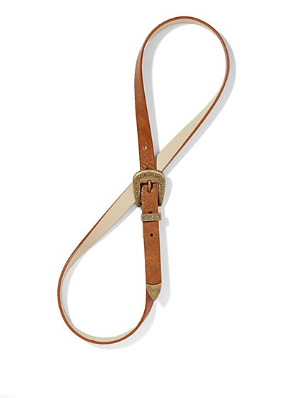 Embossed Faux-Leather Skinny Belt - New York & Company