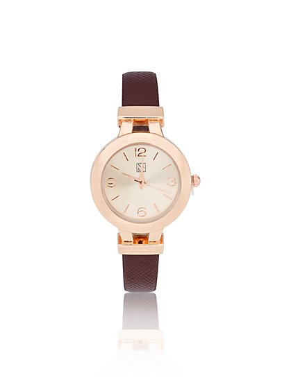 Embossed-Strap Goldtone Watch  - New York & Company