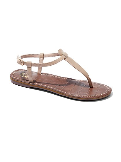 Embossed T-Strap Sandal  - New York & Company