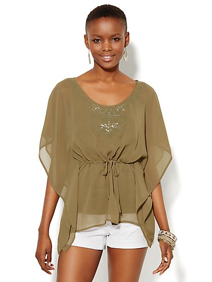 Embroidered & Beaded Tunic  - New York & Company