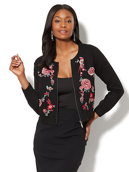 Embroidered Bomber Jacket - New York & Company